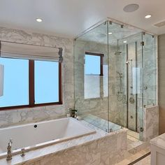 All White And Spa Like. This Master Retreat Has It All... Master  ShowerMaster BathChromotherapyJacuzzi ...