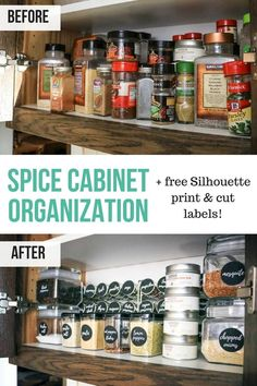Brilliant Spice cabinet organization with free Silhouette print and cut spice jar labels | Black round circle labels for spice jars | Before and after DIY awesome spice cabinet makeover #ad @worldmarket #worldmarkettribe