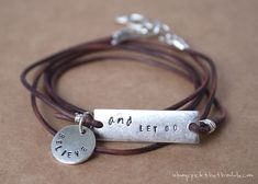 Make a leather wrap stamped metal bracelet expressing your own personal words to live by.