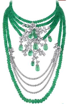 Cariter emerald bead and diamond necklace, incredible! @Reinandy http://www.facebook.com/ReinaIndybelleza #diamonds