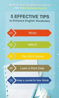 5 Effective Tips to Enhance English Vocabulary - ExamPlanning % English Exam, Learn English Grammar, English Language Learners, English Study, Learning English, Improve Vocabulary, Vocabulary List, English Vocabulary, Improve English Speaking