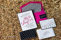 50 Black, White & Hot Pink - Kate Spade Inspired Wedding Invitation Ensembles  @marissapinon what do you think of these? They are a great price with everything included...