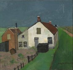 "Felix Nussbaum (German 1904 – 1944) - ""Houses at the Dyke"" 1926-1927"