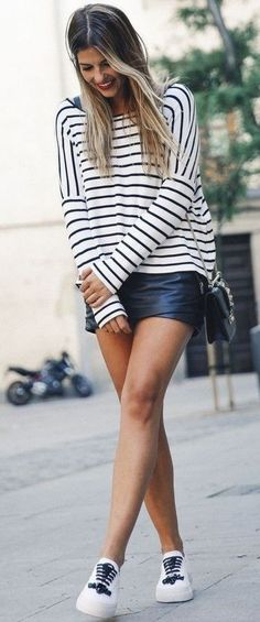 #summer #feminine #outfitideas    Striped Top + Black Leather Skirt