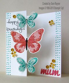 Partial cut butterfly card using watercolor wings. www.craftingandstamping.com #stampinup
