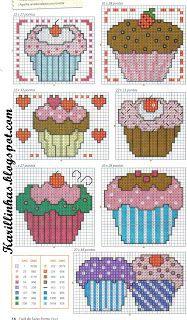 Cupcakes cross-stitch chart by barbra Cupcake Cross Stitch, Cross Stitch Love, Counted Cross Stitch Patterns, Cross Stitch Charts, Cross Stitch Designs, Cross Stitch Embroidery, Beading Patterns, Embroidery Patterns, Cross Stitch Kitchen