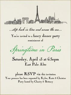 Dinner party invitation digital version french themed dinner lovely parisian dinner party stopboris Gallery