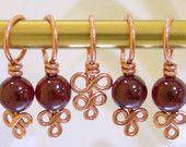 Etsy Spindle Cat Studio: Copper and Garnet Stitch Markers - Set of 5 - Excellent Hand Craftsmanship for Your Knitting