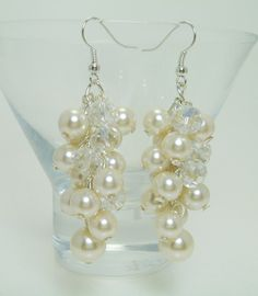 Pearl Cluster Earrings - Ivory/Off-white pearls and crystals, pearl wedding jewelry, bridal pearl earrings, bridesmaids cluster earrings. by Eienblue on Etsy https://www.etsy.com/listing/111392973/pearl-cluster-earrings-ivoryoff-white