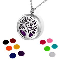HOUSWEETY Aromatherapy Essential Oil Diffuser Necklace-Stainless Steel Tree of Life Locket Pendant,11 Refill Pads (Engraving) ** Discover this special product, click the image : aromatherapy diffuser