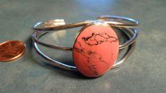 Native American 925 Sterling Silver Handmade Rhodonite Cuff Bracelet Sz 7