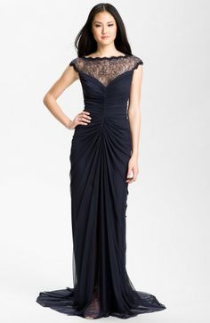 Lace Illusion Yoke Ruched Mesh Gown - Lyst