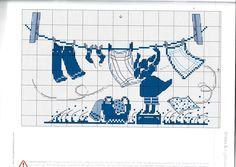 Laundry Day cross stitch pattern