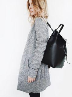 grey sweater & Mansur Gavriel backpack