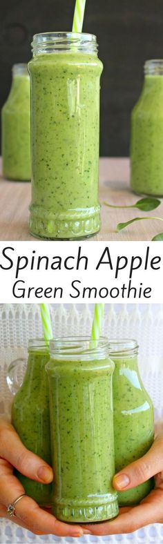 Healthy Smoothies Smoothie Recipes, Spinach Smoothie Recipes, Apple Smoothie Recipes - A powerhouse green smoothie that is loaded with spinach, it's smooth and creamy, sweet and refreshing. The perfect simple to make healthy smoothie to have anytime! Protein Smoothies, Smoothie Legume, Smoothie Proteine, Spinach Smoothie Recipes, Yummy Smoothies, Breakfast Smoothies, Avocado Smoothie, Smoothie Cleanse, Cleanse Detox