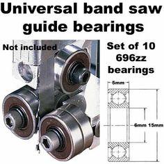 Universal Band Saw Guide Bearings (Set of 10 Bearings Onl...