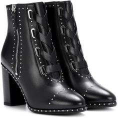 Aquazzura Guns & Roses 85 Leather Ankle Boots (£785) ❤ liked on Polyvore featuring shoes, boots, ankle booties, black, own, leather ankle booties, black bootie, short boots, black leather ankle booties and black bootie boots