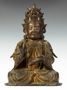 An Early Chinese Bronze Seated Figure of Buddha, price realized: $40,800