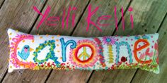 Freehand Embroidered Bohemian Letters Name Pillow by YelliKelli, $65.00