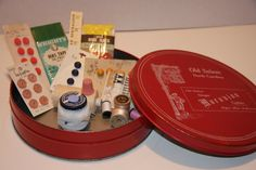 Vintage Red Cookie Tin with Sewing Supplies