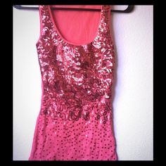 Coral sequin top Coral sequin top. Never been worn. Size small Tops Tank Tops