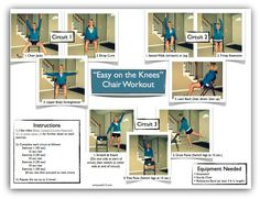 """""""easy on the knees"""" chair workout (video and free printable!) from Claire at Peak 313 Fitness.... peak313.com"""