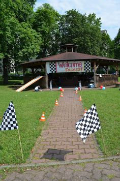 """Car Birthday Party ideas: """"welcome racers"""" sign for hall, twizzler """"tow cables"""", choc pretzel """"dip sticks"""", etc."""
