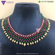 Beads necklace designs by Vaibhav jewellers - Indian Jewellery Designs Gold Jewellery Design, Bead Jewellery, Beaded Jewelry, Beaded Necklace, Gold Jewelry, Green Necklace, Pearl Jewelry, Gold Necklace, Necklaces
