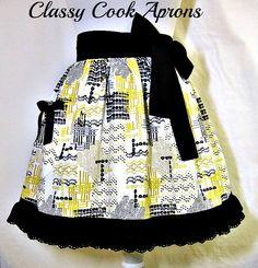 Half Apron, Yellow, Grey & Black Lace by ClassyCookAprons, $26.50
