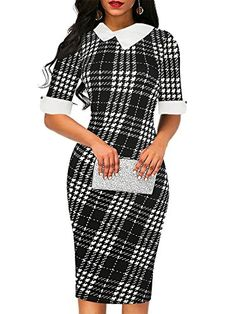 6a1a3461ada1 oxiuly Women's Summer Half Sleeve Chic Plaid Cute Midi Dress Casual Pencil  Dresses for Lady Girl