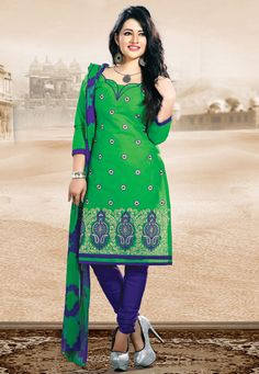 Flaunt your standout #style with this Green-Purple Color Cotton Designer #SalwarKameez which is accompanied with a matching dupatta and bottom. The suit features intricate embroidery along with lace and stone embellishments.