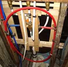 plumbing with pex Pex Plumbing, Bathroom Plumbing, Basement Bathroom, Leaking Pipe, Plumbing Installation, Home Fix, Home Repair, Basement Remodeling, Home Improvement