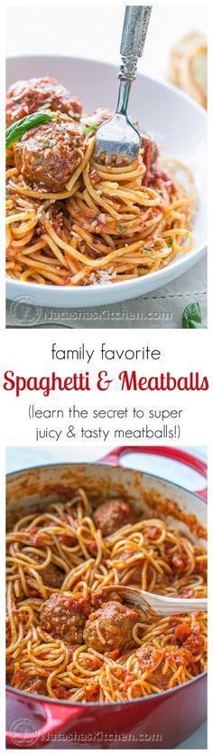 The Best Spaghetti & Meatballs!! Here's the secret to making meatballs uber juicy & tasty! /natashaskitchen/