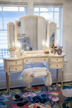 Elegant Antique Vanity Table with Triptych Mirror