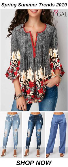 spring summer women's outfits: spring summer tops for women, retro flower print blouse, short sleeve t shirts, and classy ripped jeans, - Mode Xpin Summer Fashion Trends, Summer Trends, Spring Summer Fashion, Cute Blouses, Blouses For Women, Mode Outfits, Fashion Outfits, Women's Fashion, Spring Outfits Women