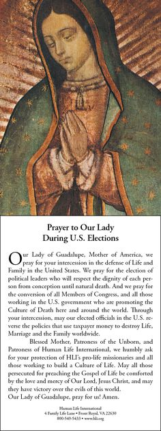 Our Lady of Guadalupe, pray for us. Election prayer campaign for a pro-life America and world.