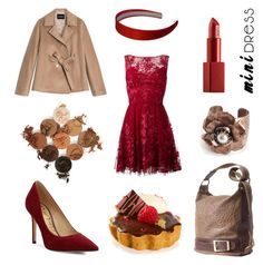 Polyvore outfits fall Raspberries & Chocolate by geminae on Polyvore featuring Zuhair Murad, Max&Co., Sam Edelman, Sweet Romance, NARS Cosmetics and minidress