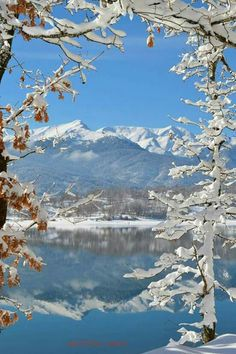 Lake Plastira, near Karditsa town, Thessaly Snow In Greece, Seasons In The Sun, Greece Travel, Cool Pictures, Beautiful Places, Places To Visit, Mountains, Landscape, Nature