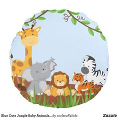Blue Cute Jungle Baby Animals Round Pillow