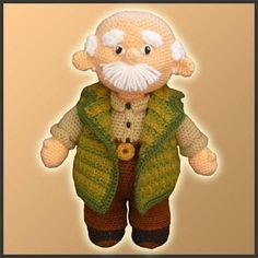 Amigurumi Pattern Crochet Grandpa Doll DIY Instant Digital Download PDF