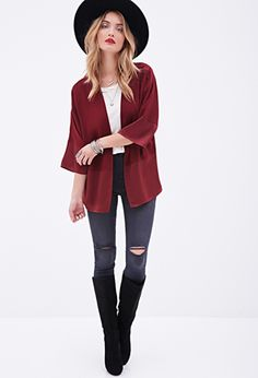 Sateen-Paneled Cardigan | FOREVER21 - 2000138638
