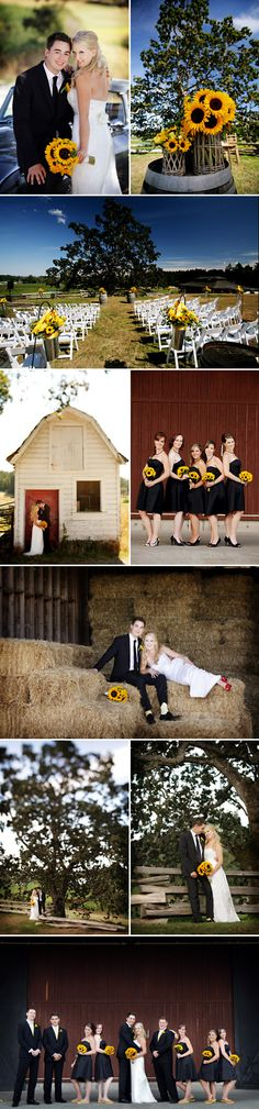 Sunflowers for the bridesmaids and the bride! See the bridesmaids' dresses, too.