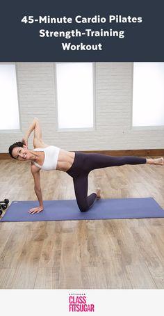 Tone Your Entire Body With This Cardio and Strength Pilates .- Tone Your Entire Body With This Cardio and Strength Pilates Workout 45 Minuten Cardio und Pilates, um deinen Körper zu stärken - Pilates Workout Routine, Pilates Training, Fitness Workouts, Workout Cardio, Cardio Pilates, Yoga Pilates, Strength Training Workouts, Fitness Tips, Workout Body