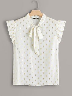 To find out about the Plus Tie Neck Ruffle Trim Gold Dot Print Blouse at SHEIN, part of our latest Plus Size Blouses ready to shop online today! Plus Size Shirts, Plus Size Blouses, Plus Size Tops, Gold Dots, Ruffle Trim, Printed Blouse, Cute Tops, Sleeve Styles, Fashion News