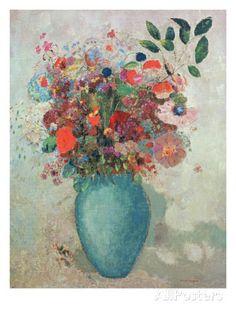 オールポスターズの オディロン・ルドン「Flowers in a Turquoise Vase, C.1912」ジクレープリント