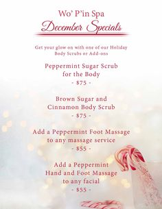 December Specials at Wo'P'in Spa. Massage Room, Spa Massage, Christmas Massage, Spa Decorations, Massage Marketing, Holiday Service, Spa Specials, Spa Menu, Sports Therapy