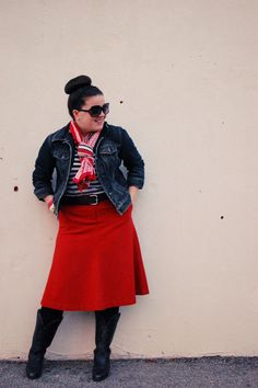 still being molly: red skirt, denim jacket, striped tee, a scarf, and boots
