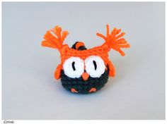 NEON orange keychain owl, Electric owl keyring, Bright color crochet key chain, Soft toy owl, Contrast accessory, Neon owl charm, Neon art