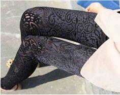 Stylish Floral Leggings In Black