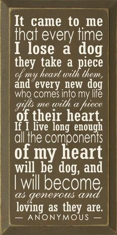 It came to me that every time I loose a dog they take a piece of my heart with them, & every new dog who comes into my life gifts me with a piece of their heart. If I live long enough all the components of my heart will be dog, & I will become as generous & loving as they are.